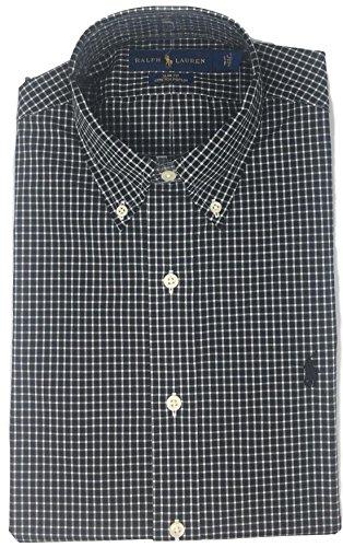 Polo Ralph Lauren Men Slim Fit Stretch Poplin Sport Shirt, Black/White (X-Large)