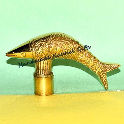 VICTORIAN BEAUTIFUL Fish Brass Design Vintage Handle Head Walking Stick Cane ()