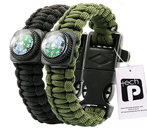 TECH-P Survival Gear Paracord Bracelet Compass Fire Starter Scraper Whistle Gear Kits- 2 Pack (Black and Army Green, 9' (Kids)