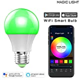 MagicLight WiFi Smart Light Bulb, Dimmable, Multicolor, Wake-Up Lights, No Hub Required, Magic Light Compatible with Alexa and Google Assistant