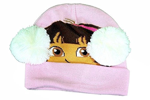 Dora The Explorer Toddler Girl's Pink Winter Hat & Mittens Set Sz. 2-4T