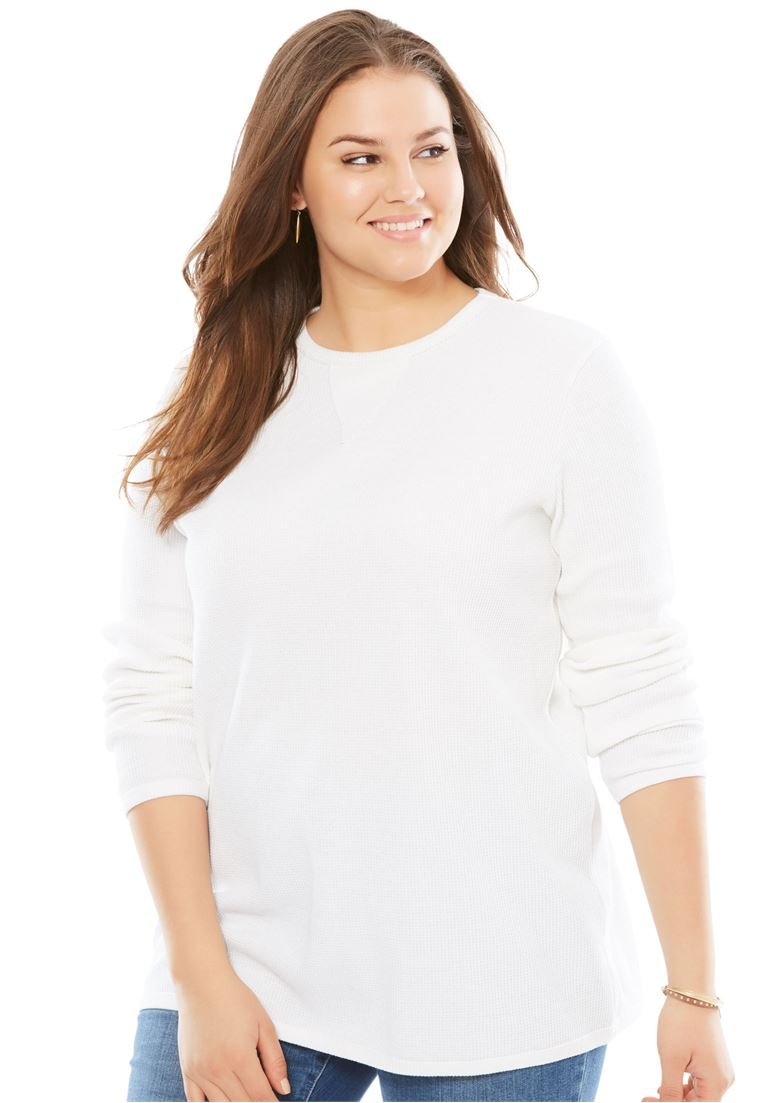 Woman Within Plus Size Thermal Sweatshirt - White, 1X