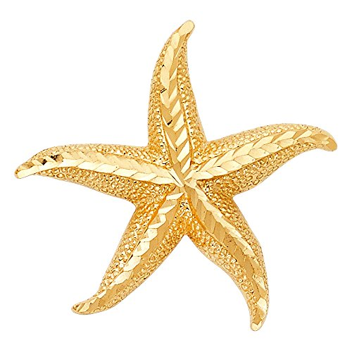 14K Yellow Gold Starfish Charm Pendant For Necklace or Chain 14k Yellow Gold Starfish Charm