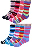Bright Fuzzy Socks Ultra Soft Womens 6-pack Striped By DEBRA WEITZNER, Multicolor Stripes, 9 - 11