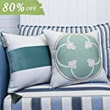 Decorative Pillow Cover - Valery Madelyn 18x18 Inch Set of 2 Cotton Velvet Throw Pillow Case Decorative Pillow Cover for Sofa Couch, Green Embroidery Mediterranean and Aqua Velvet Stripe with 4 Tassels