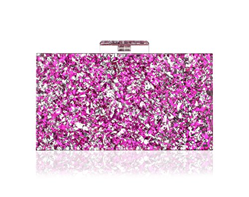 Shiny Acrylic Clutch Purse Perspex Bag Handbags for Women Party (Purple-mirror)