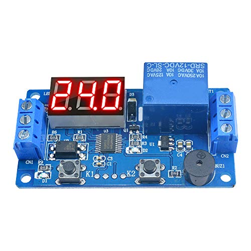 Diymore 12V LED Display Multi-Function Timer Relay Programmable Digital Readout Module Delay Switch Board with Car Buzzer(2 Buttons)