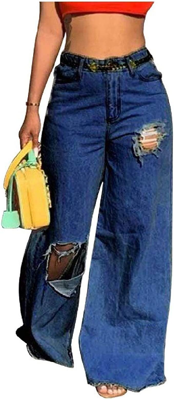 AngelSpace 女性の穴ソリッドカラーポケットワイドレッグウォッシュパーソナライズされたジーンズパンツ