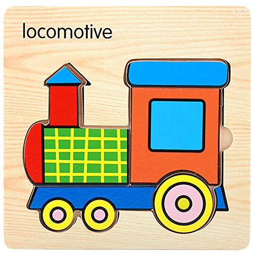 Hisoul 3D Wooden Puzzle Toy Baby Early Shape Recognition Education and Learning Puzzles Developmental Training Toy for Kids Early Learning Educational Toys (F)