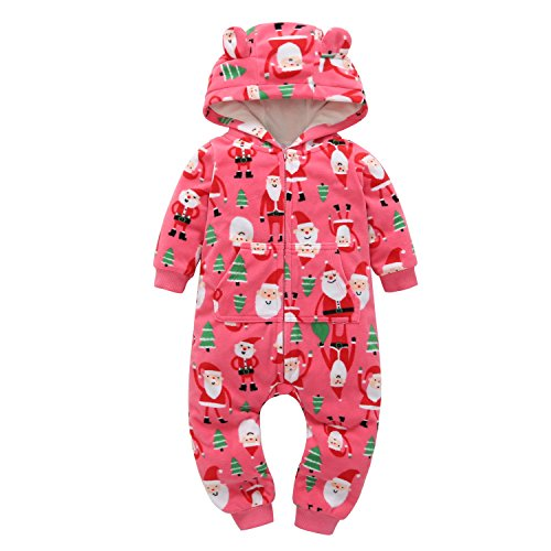 Oklady Christmas Outfit Baby Girls Cotton Fleece Hooded Rompers Jumpsuit Pajamas Clothes(18 Months)