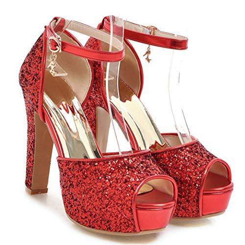 OTOSU Women's Glitter Chunky Block Heel Platform Sandals Peep Toe Sexy Wedding Party Dress Sandal Pumps Red