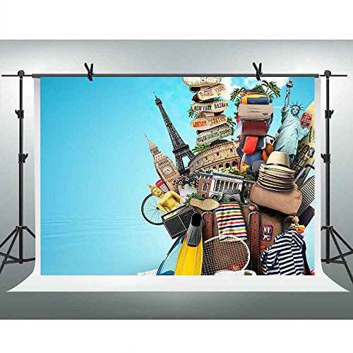 FHZON 10x7ft Travel Background Baggage Blue Sky Photography Backdrop Themed Party YouTube Backdrops Photo Booth Studio Props FH1342