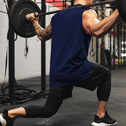 c75ec88a43b7b Magiftbox Mens Workout Gym Muscle Tank Tops Mockneck Drop Hem Tanks For  Sports Running Jogging T02 Navy US