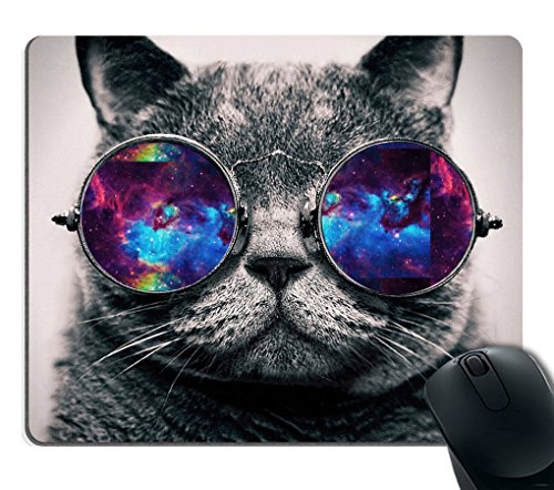 Smooffly Gaming Mouse Pad Custom,Galaxy Hipster Cat Wear Color Sunglasses Mouse pad 9.5 X 7.9 Inch - Hipster Sun