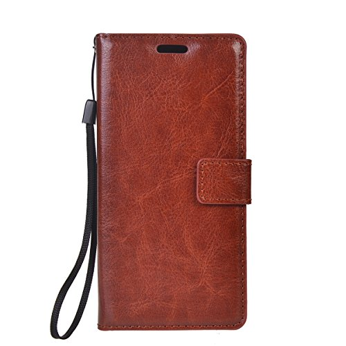 Xperia X Funda,COOLKE Retro PU Leather Wallet With Card Pouch Stand de protección Funda Carcasa Cuero Tapa Case Cover para Sony Xperia X - Marrón Marrón