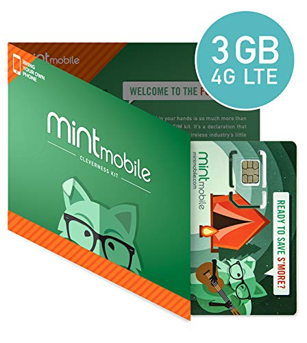 ($15/Month Mint Mobile Wireless Plan | 3GB of 4G LTE Data + Unlimited Talk & Text for 3 Months (3-in-1 GSM SIM Card))