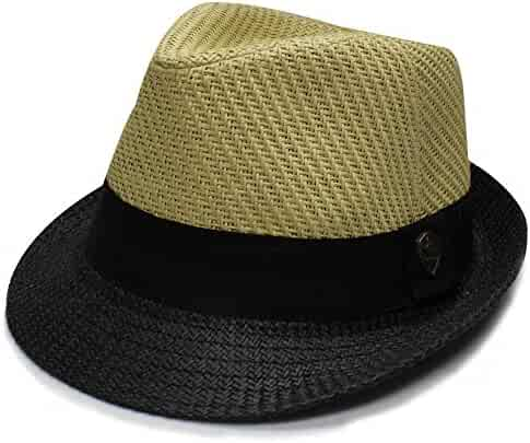 594d92038fc City Hunter Pms390 Pamoa 2 Tone Straw with Cotton Band Summer Fedora (3  Colors )