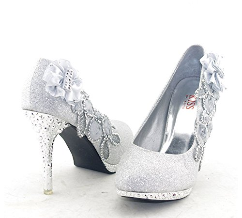 2339a8e756d durable modeling Getmorebeauty Women s Silver Lace Flower Pearls Closed  Toes Wedding Shoes