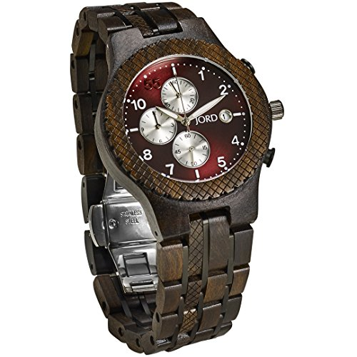 JORD Wooden Wrist Watches for Men - Conway Series Chronograph / Wood and Metal Watch Band / Wood Bezel / Analog Quartz Movement - Includes Wood Watch Box (Sandalwood & Burgundy) by Jord