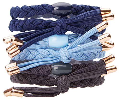 L. Erickson Braided Bow Pony 6 Pack, French Blue/Navy/Graphite, Set of 6 - Extremely Comfortable Ponytail Holders