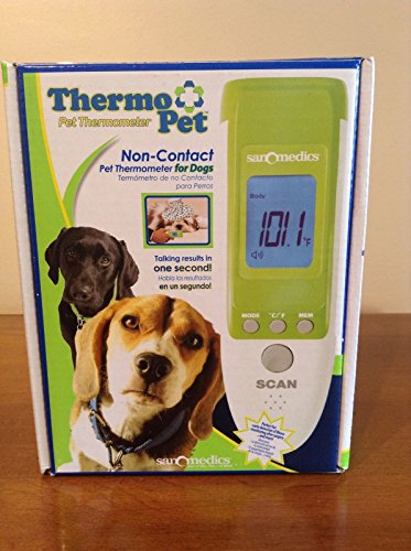 Zampa Non-Contact, High Accuracy Multi-function Body Temperature Thermometer For Pets. LCD Digital, + Surface & Room Thermometer. Audio Readings In Multiple Languages.