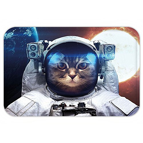 Sun Drop Costumes (VROSELV Custom Door MatSpace Cat House Cat in Galaxy Outer Space with World and Sun Backdrop White Light Yellow and Blue)