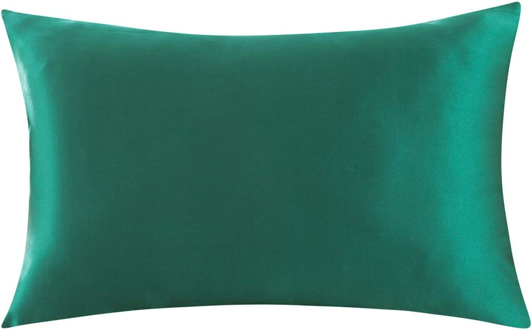 ZIMASILK 100% Mulberry Silk Pillowcase for Hair and Skin,with Hidden Zipper,Both Sides 19 Momme Silk, 1pc (Queen 20''x30'',Pine Green)