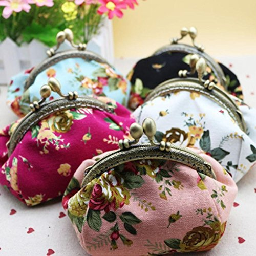 Hot Pink Flower Hasp Purse Women Small Hot Wallet Lady Sales Retro Black New Baigood Vintage Clutch Bag wqnZ1AT