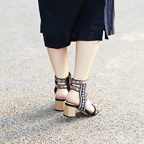HBDLH Scarpe Scarpe Scarpe da Donna L'Esercitazione Spessa Tacco Tacco Alto 7 Cm Sandali Ricami Retro Lo Stile Cinese Stile Nazionale Sandali.Trentotto nero | Una Grande Varietà Di Merci  c38b8b