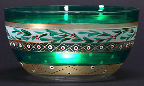 stmas Garland and Stripes Hand Painted Glass Serving Bowl 6