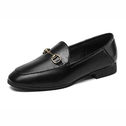 Zapatos para mujer HWF Penny Loafers Low Heel Slip de Cuero, Negro (Color :