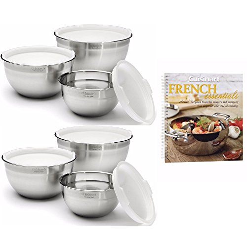 Cuisinart Bakeware Set (Cuisinart Stainless Steel Mixing Bowls w/ Lids (Set of 6) + Free French Essentials Cookbook)