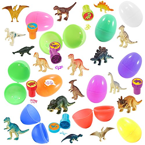 - 12 Prefilled Easter Eggs With Dinosaur Toys, Assorted Colors - Ready To Hide, No Prep Needed - Delight Kids With T-Rex And Friends - Perfect For Easter Baskets, Party Favors, Cake Toppers And More
