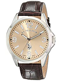 U.S. Polo Assn. Men's Oversized Dial Leather Strap Watch Gold USC50006
