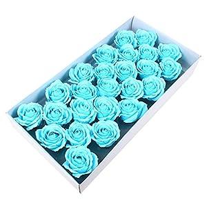 Memoirs- 25PCS 6CM Soap Rose Flower Head Wedding Party Decoration Artificial Flowers Big Rose Head, Sky Blue 28