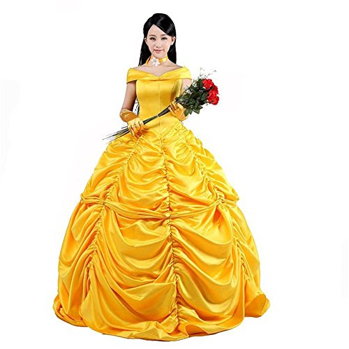 COSTYLE Adult Size Princess Belle Costume Beauty and The Beast Cosplay Show Dress (S) (Belle Dress Adult)
