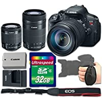 Canon EOS Rebel T5i Camera Bundle with Canon EF-S 18-55mm f/3.5-5.6 IS STM Lens + Canon EF-S 55-250mm f/4-5.6 IS STM Lens + 32gb Memory SD Card + Grip Strap - International Version (No Warranty)