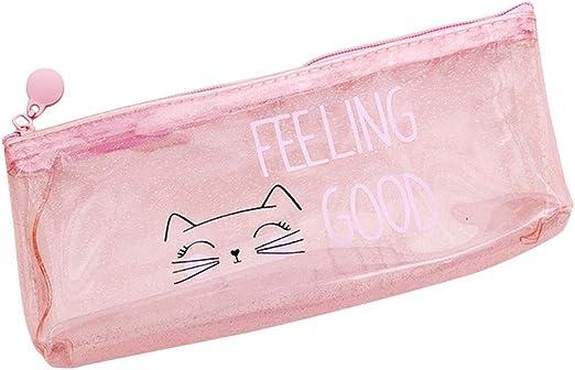 WINJEE, Cartoon Cat Pink PVC Transparente Bolso de la Pluma Estuche de Almacenamiento de lápiz Estudiantes Niños Chica Material Escolar Estilo de Regalo - 02: Amazon.es: Hogar