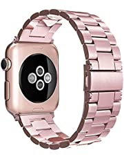 Simpeak Band Compatible with iWatch 42mm 44mm, Match 2pc Links, Stainless Steel Wirstband Replacement for iWatch Series 5 4 3 2, Rose Gold