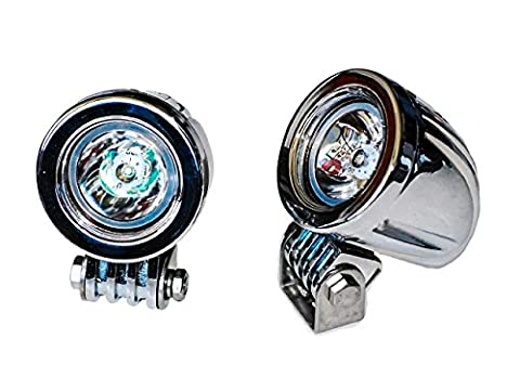 Chrome 20w LED lights spot OZ-USA motorcycle cruiser fog hid passing running white vn - Water Spots Chrome