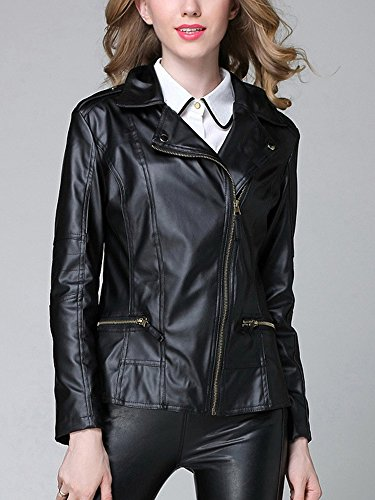 Court Jacket Cuir Femme Fausse OCHENTA Blouson Noir 5Hq8Xzw
