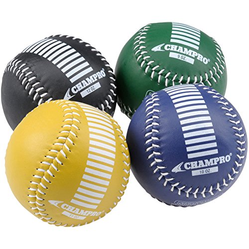 Champro Training Softballs, Set of 4 (Green/Yellow/Black/Blue, 12-Inch)