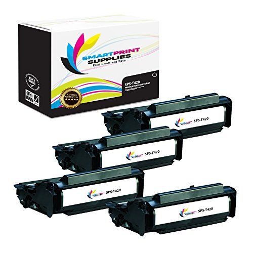 (Smart Print Supplies Compatible 12A7415 Black High Yield Toner Cartridge Replacement for Lexmark T420 Printers (10,000 Pages) - 4 Pack)