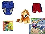 Children's Gift Bundle - Ages 0-2 [5 Piece] Includes: My Pool Pal Reusable Swim Diaper, Royal Blue 24 Months, 18-25 Pounds, Circo Infant Boys Swim Shorts GatorRed/Blue Size L Months 22-25 lbs, Webki