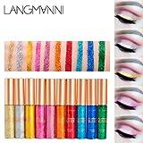 UMFun Makeup Metallic Shiny Eyes Eyeshadow Waterproof Glitter Liquid Eyeliner Eyeshadow 10 Colors (1 Set(10 Colors))