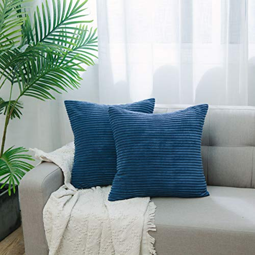 Blue Striped Toss Pillow - NATUS WEAVER Set of 2 Decor Supersoft Pillow Covers Striped Velvet Corduroy Decorative Throw Toss Cushion Cover for Sofa, Navy Blue, 20 inch
