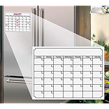 YUELY White 15.7x11.8 Reusable Magnetic Dry Erase Refrigerator Calendar Weekly Monthly Planner Whiteboard Board 40x30cm for Refrigerator Home Kitchen White