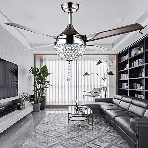 RainierLight Modern Crystal Ceiling Fan Lamp LED 3 Changing Light 4 Stainless Steel Blade