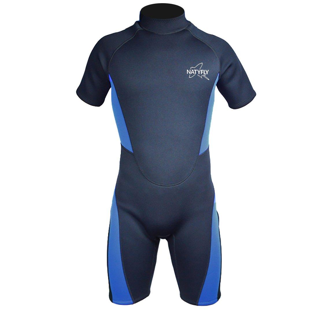 NATYFLY Wetsuit Men 3mm Neoprene Shorty Surfing Wetsuits for Women(Blue,M)