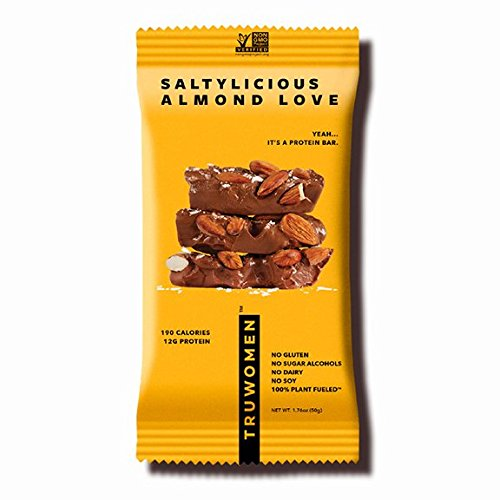 TRUWOMEN Plant Fueled Protein Bars, Saltylicious Almond Love (12 Count) | Non-GMO, Vegan, Gluten Free, Kosher, Soy Free, Dairy Free, Healthy Snack Bar, Natural Ingredients | 12g Protein (Best Healthy Protein Bars)